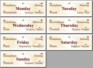 kalend savaitės